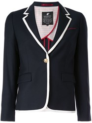 Loveless Contrast Trim Blazer Blue