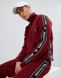 Dc Shoes Track Jacket With Logo Taping In Burgundy Red