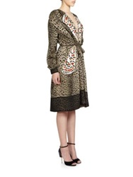 Givenchy Silk Leopard And Butterfly Dress Brown White Multi
