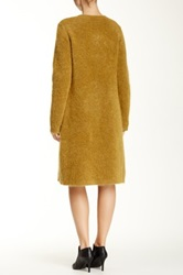 Eileen Fisher Wool Mohair Blend Long Round Neck Sweater Coat Brown