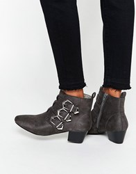 Asos Affia Multi Buckle Ankle Boot Grey