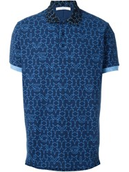 Givenchy Geometric Star Print Polo Shirt Blue