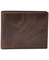 Fossil Derrick Rfid Blocking Flip Id Billfold Dark Brown