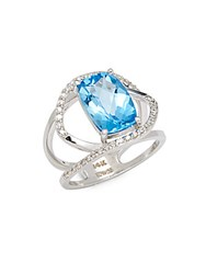 Effy Diamond Blue Topaz And 14K White Gold Ring