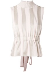 Fendi Striped Peplum Top Women Polyester Viscose 42 Pink Purple
