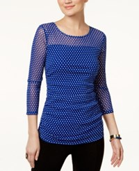 Inc International Concepts Illusion Polka Dot Top Only At Macy's Mini Dot Blue