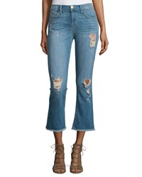 Current Elliott The Kick Flare Leg Cropped Jeans Blue Ocean Destroy Size 31 Blue Ocean Destro