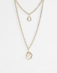 Warehouse Chunky Oval Multirow Necklace Gold