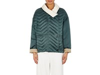 Isabel Marant Women's Hector Quilted Silk Jacket Green Cream Light Green