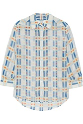 Alice Olivia Westi Crinkled Chiffon Shirt Blue