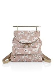 M2malletier Flower Print Leather Backpack Sand