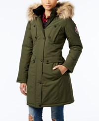 Madden Girl Faux Fur Trim Hooded Parka Olive