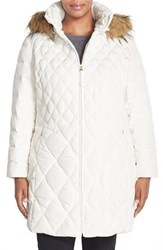 Plus Size Women's Jessica Simpson Faux Fur Trim Hooded Quilted Down And Feather Fill Coat Ivory