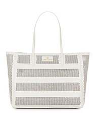Vince Camuto Diamond Perforated Leather Tote White