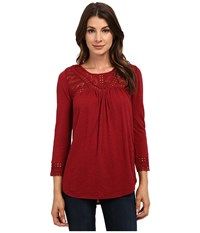 Lucky Brand Chevron Lace Top Biking Red Women's Clothing