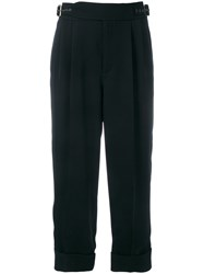 Tom Ford Cropped Trousers Women Silk Acetate 40 Black