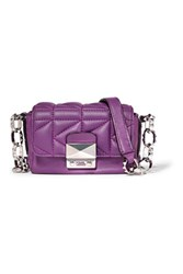 Karl Lagerfeld Quilted Leather Shoulder Bag Purple
