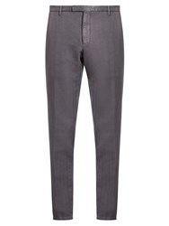 Boglioli Slim Leg Cotton And Linen Blend Trousers Grey