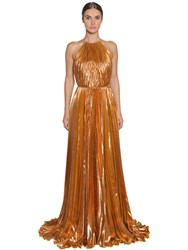 Maria Lucia Hohan Pleated Lurex Chiffon Gown