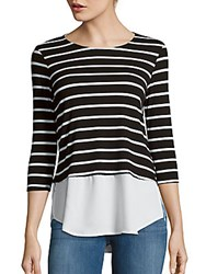 Red Haute Double Lay Striped Top Black