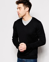 United Colors Of Benetton Cotton Knitted V Neck Jumper Black100