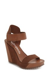 Pedro Garcia Women's Vivien Strappy Platform Wedge Sandal Brown Leather