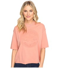 Converse Embossed Core Patch Short Sleeve Mock Neck Tee Pink Blush Women's T Shirt
