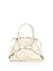 Akris Little Ai Convertible Leather Tote White Beige