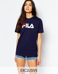 Fila Oversized Boyfriend T Shirt With Front Logo Navy