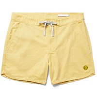 Outerknown Happy Source Mid Length Organic Cotton And Hemp Blend Swim Shorts Yellow