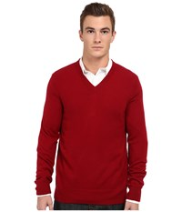 Vince L S V Neck Sweater Rhubarb Men's Long Sleeve Pullover Red