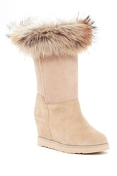 Australia Luxe Collective Foxy Tall Hidden Wedge Genuine Fox Fur And Shearling Boot Beige