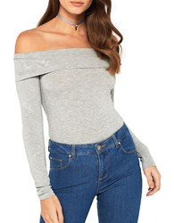 Miss Selfridge Off The Shoulder One Piece Grey