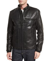 Andrew Marc New York Chiswick Supple Leather Moto Jacket Black Women's