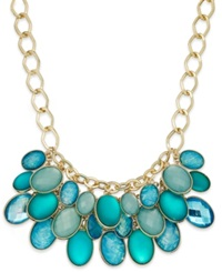 Style And Co. Gold Tone Blue Green Shaky Drop Necklace