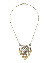 Lydell Nyc Golden Pearly Beaded Disk Pendant Necklace Multi