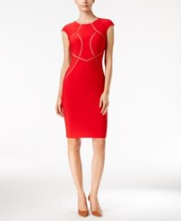 Inc International Concepts Mesh Inset Sheath Dress Only At Macy's Real Red
