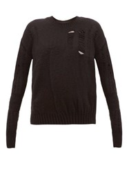 Ann Demeulemeester Distressed Wool Blend Sweater Black