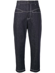 Fendi Cropped Tapered Jeans Blue