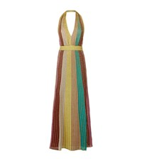 M Missoni Striped Lurex Halter Maxi Dress Female Green