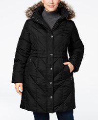 London Fog Plus Size Faux Fur Trim Hooded Down Puffer Coat Black