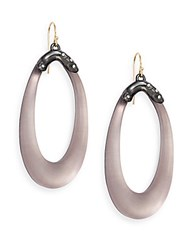 Alexis Bittar Lucite And Swarovski Crystal Capped Drop Earrings Rose Grey