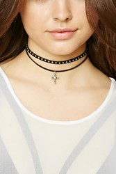 Forever 21 Studded Faux Suede Choker Set Black Silver