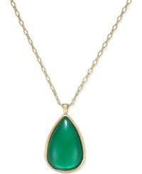 Charter Club Reversible Teardrop Pendant Necklace Only At Macy's Green Gold