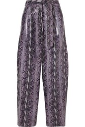 Sally Lapointe Glossed Snake Effect Leather Wide Leg Pants Purple
