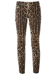 Dolce And Gabbana Leopard Print Trousers Brown