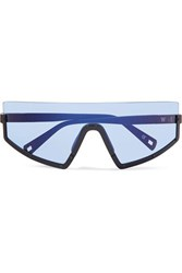 Westward Leaning Stun D Frame Matte Acetate Sunglasses Blue
