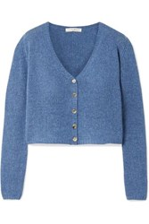 The Row Abigael Cropped Cashmere Cardigan Blue