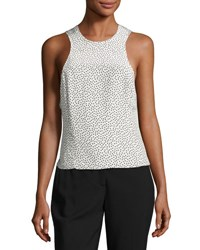 Grey By Jason Wu Silk Polka Dot Twist Back Tank Cream Black Gray