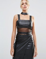 Daisy Street Faux Leather Crop Top With Mesh Insert Faux Leather Black